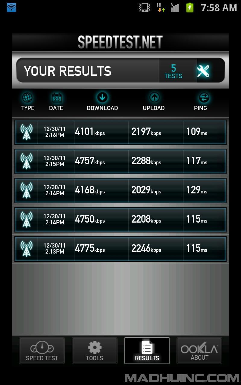 Airtel Speedtest.net App kbps screenshot