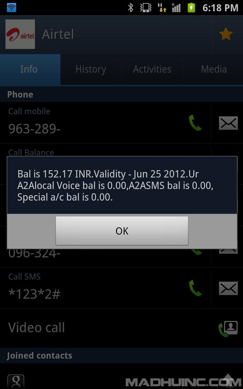 Airtel ussd code request message screenshot